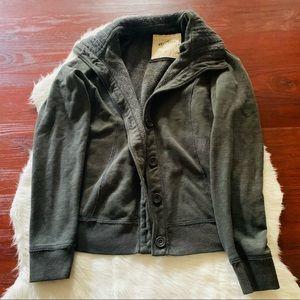EUC Hollister gray knit sweater jacket